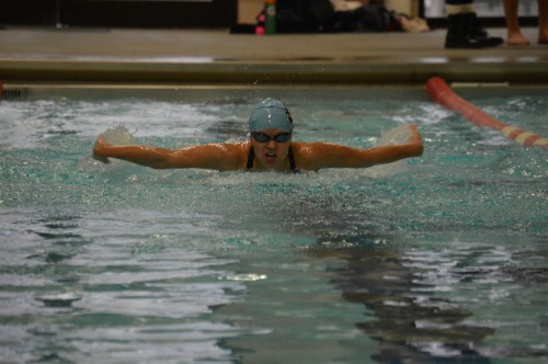 Senior Vanessa Dominguez swims the butterfly in the 200 meter individual medley.