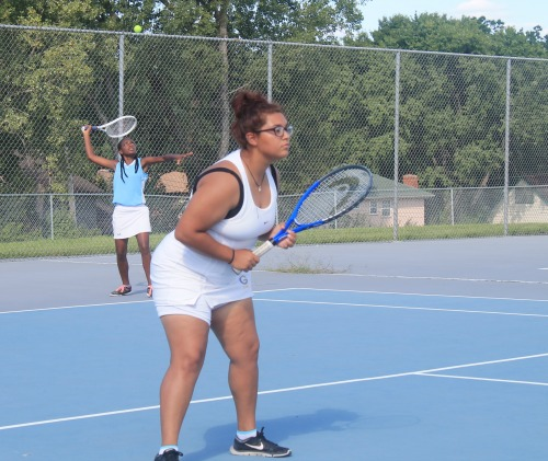 Jada Ray serves as her doubles partner Kaylee Green prepares for a possible return.