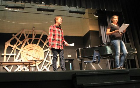 Sydney Walker and Shayna Mitchell run through a scene during auditions for the fall musical