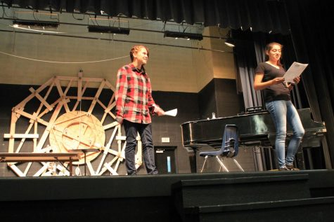 "Sydney Walker and Shayna Mitchell run through a scene during auditions for the fall musical ""Into the Woods."""