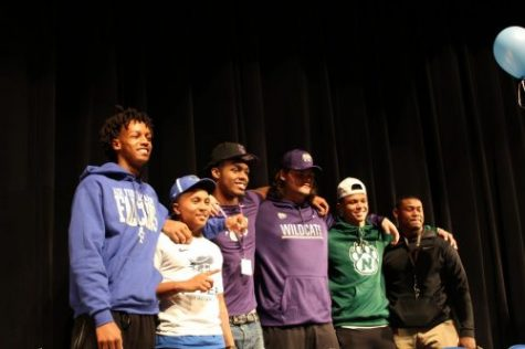 Mason Taylor, Verrell Garrett, Cartez Crook-Jones, Shane Cherry, Javon Williams and TeAndre Skinner signed letters of intent to play college sports during the Feb. 7 signing ceremony.