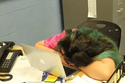 Yazmin Astorga, senior, shows a common symptom of senioritis.
