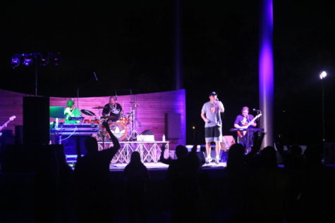The All Stars band performing at the Grandview Amphitheater.